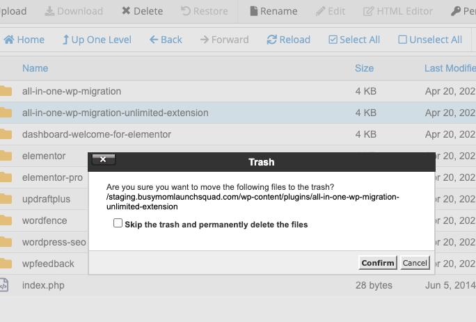 Delete WordPress plugin in file manager