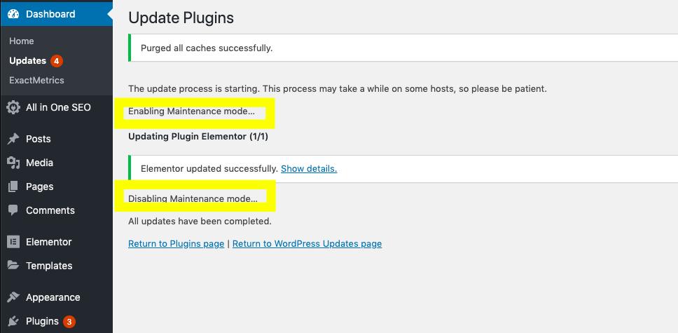 enabling maintenance mode in WordPress
