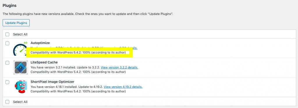 Wordpress check plugin compatibilty