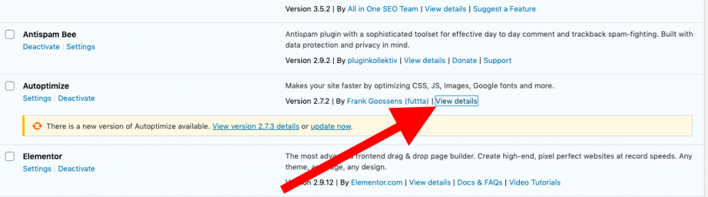 View plugin details for last update