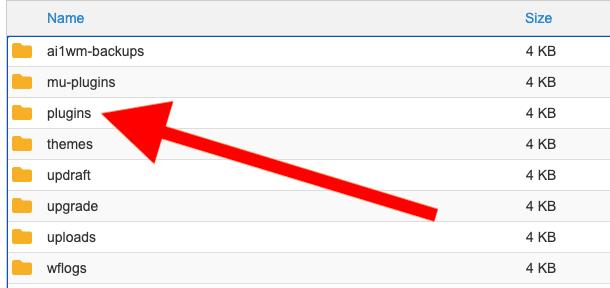 Wordpress plugins folder in file manager