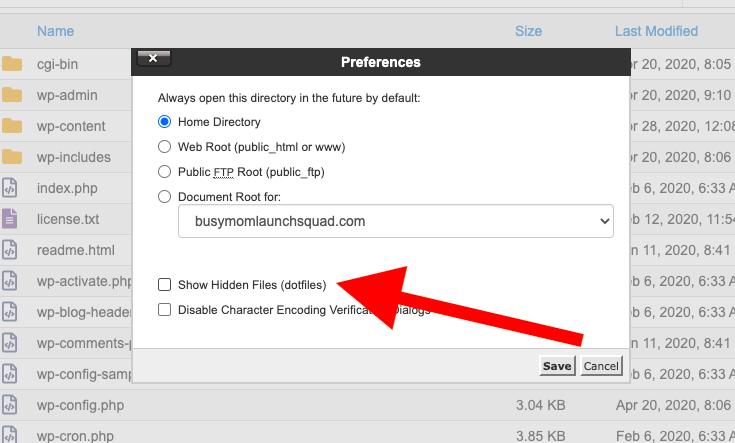 Web root folder show hidden files